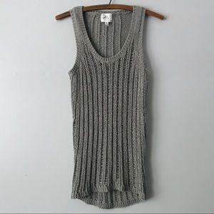 Milly New York Gray Open Knit Sleeveless Top - S